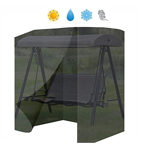 LJIANW Garden Furniture Cover Swing Chair Cover 2 Seater Swinging Hammock Cover Waterproof Sunscreen Patio Protector Cover Oxford Cloth, 2 Sizes (Color : Black, Size : 130x100x170cm) (Garden Rattan Seater Two Furniture)