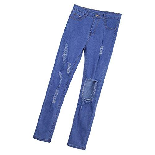 Mujeres Sensación Elegante Vaqueros Suave Azul Elásticos Ajustados de Cómodos Baoblaze Cómoda Pantalones EqzTwTv