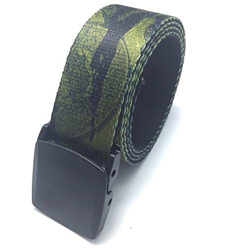 PIDAIKING Canvas Belt,Green Camouflage Hypoallergenic, Smooth Belt, Digital Indonesian Dragon Belt, Casual and Simple, Outdoor Sports, Comfortable and Breathable, for Men and Women