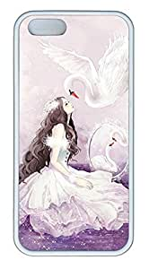 Cartoon Girl With Swan Cover Case Skin for iPhone 5 5S Soft pc White