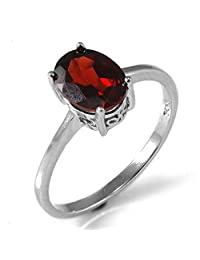 JewelryPalace Oval 1.7ct Natural Red Garnet Birthstone Solitaire Ring Genuine 925 Sterling Silver