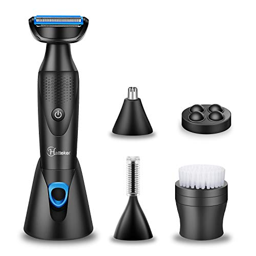 Hatteker Mens Grooming Kit 5 in 1 Body Hair Trimmer and Bodygroom,Nose/Ear, Eyebrow Hair Trimmer and Face Massager for Men-Washable Multi-Personal Care Set