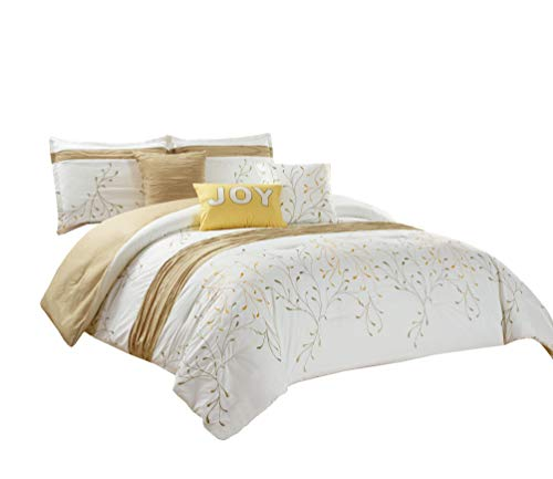 Chezmoi Collection Joy 6 Pieces Ivory/Gold Tree Branches Embroidery Design Bedding Comforter Set (King) ()