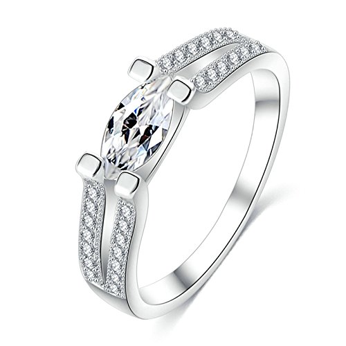 KnSam Rings for Women Wedding Ring Silver Plated Base Double Row Of Crystal Top Oval Silver Size (Double Row Engraved Band)
