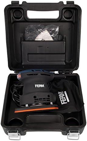 FERM PSM1013 Detail Sander - Palm Sander - 220W - Dust Collection Bag - With 5 Pcs Sanding Paper (G80), 5 Pcs Sanding Paper (G120) and a Robust Storage Case