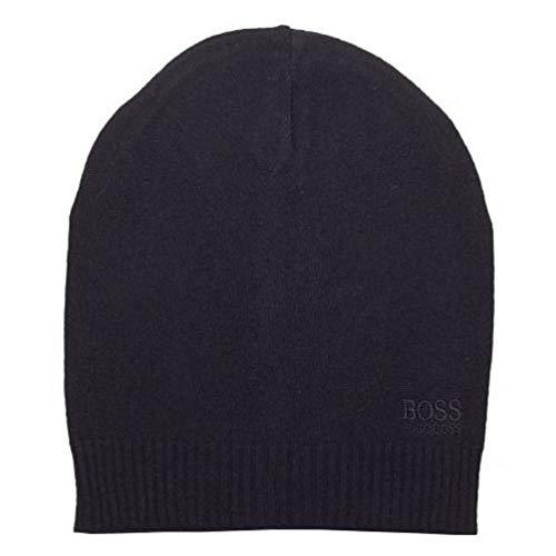 - Hugo Boss Men's Basic Tonal Logo Black Knit Beanie Hat (One Size Fits Most)