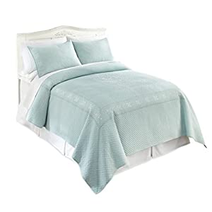 Lenox 100% Enzyme Washed French Perle Cotton 3 Piece Quilt Sets, King Aqua 2