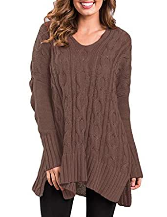 CILKOO Womens Brown Fall Sweater Shirts Cable Knit Sexy V Neck Long Sleeve Loose Fit Pullover Side Slits Sweater Tops Brown US4-6 Small