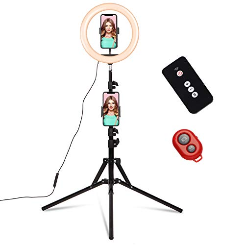 "10"" Ring Light with Stand and Phone Holder Tripod Stand 2 Remote For Makeup/Computer Influencer Kit Video Maker Selfie/YouTube/TikTok/Zoom, Big Circle RingLight Portable Compatible with Iphone/Samsung"