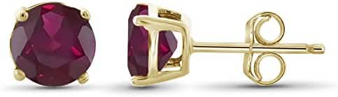 Sterling Silver 6mm Ruby Gemstone Gold Over Silver Stud Earring