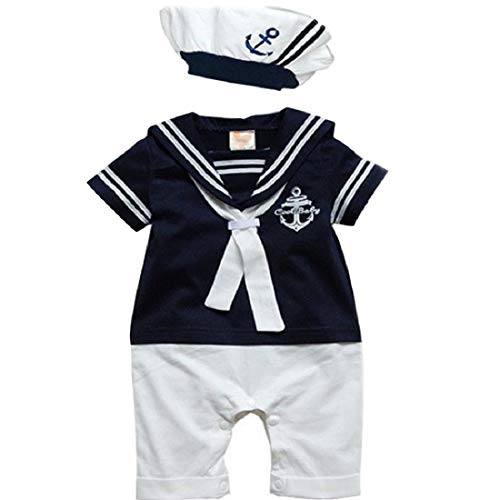 Baby Romper MITIY Hat Cotton Short Sleeved Navy Conjoined Baby Sailor Suit (6-12M, Dark Blue)]()