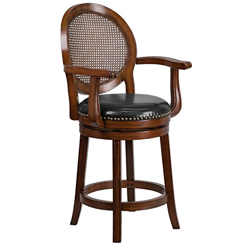 Flash Furniture 26'' High Expresso Wood Counter Height Stool with Arms, Woven Rattan Back and Black Leather Swivel Seat (Bar Arms Swivel Stools Rattan)