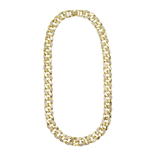 Jewelry4All 15mm Iced Out Gold Plated Cuban Link Chain with Simulated Diamond Crystals 30 ()