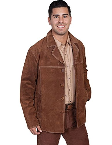 Scully Leather Mens Boar Suede Contrast Stitch Four Button Car Coat Cinnamon 2XT
