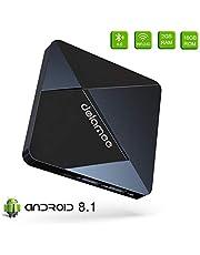 Android TV Box 7.1-Dolamee D5 2GB RAM+16GB ROM Mini Smart TV Box mit Amlogic S905W Quad Core 64 Bits/4K HD/3D/Bluetooth 4.0/2.4GHz WiFi/LAN10/100M