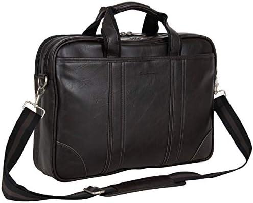 Ben Sherman Faux Leather Flapover 15 Laptop /& Tablet Casual Messenger Bag Laptop Black
