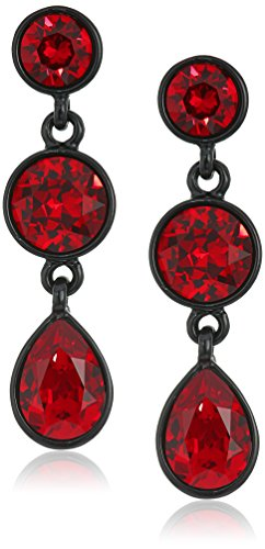 Kenneth Jay Lane Black and Ruby 3 Drop Post Drop Earring Kenneth Jay Lane Red Earrings