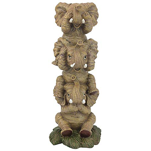Design Toscano Hear-No, See-No, Speak-No Evil Stacked Elephants Collectible Statue, Single
