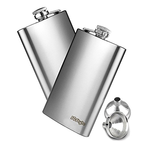 SCStyle 10 Oz Pocket Hip Flask for Men And Women Liquor set with 2 Funnel Stainless Steel Alcohol Whiskey Vodka Bottle Metal Flask Perfect For Gifts set of 2pc Silver (Pocket Liquor Bottle)