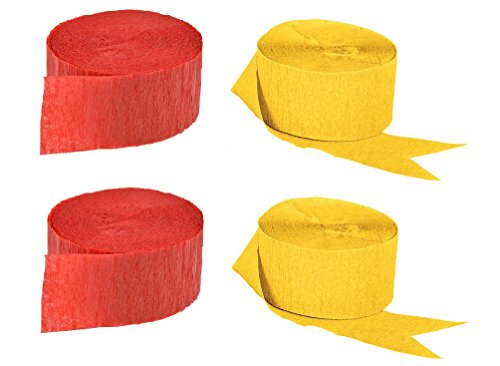 Red Streamer - Red and Gold Yellow Crepe Paper Streamers (2 Rolls Each Color) MADE IN USA!