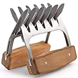 Comfort Life Molded Stainless-Steel Meat Claws Tools Pair with Wooden Handles, Bear Claw Teeth for BBQ, Meat, Pulled Pork, Shredding. Holds Turkey, Steak, Chicken
