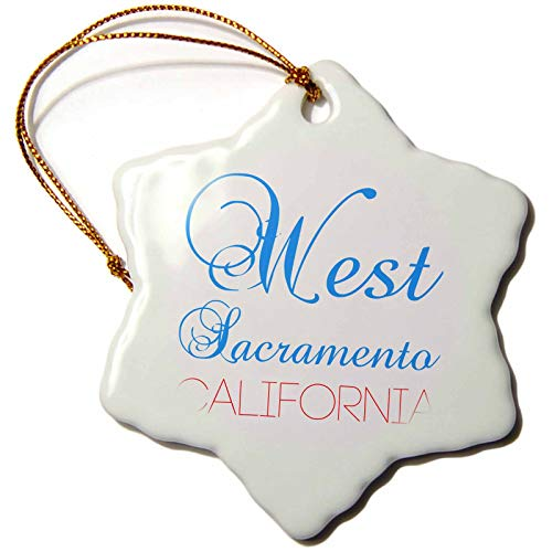 - 3dRose Alexis Design - American Cities California - West Sacramento, California, red, Blue Text. Patriotic Home Town Art - 3 inch Snowflake Porcelain Ornament (ORN_302762_1)