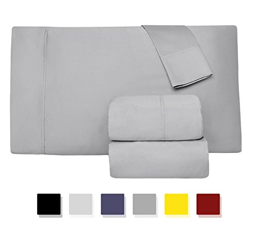 Comfy Sheets 800-Thread-Count 100% Egyptian Cotton 4 Pc Sheet Set - Silver Cal King Sheets & Pillowcases Set of 2, Best Bed Sheets Soft Sateen Weave Combed Cotton Fits Mattress Upto 15'' Deep Pocket