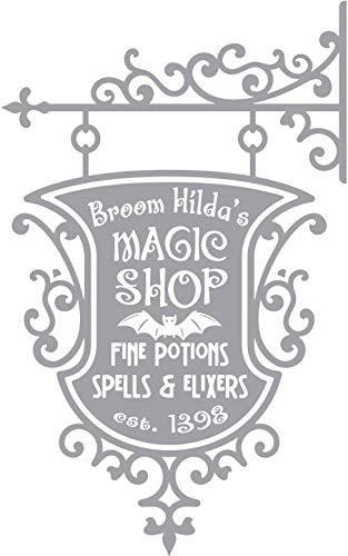 Omega Broom Hilda's Magic Shop Sign Halloween Vinyl Decal Sticker Quote - Large - Metallic -