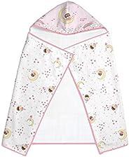 Toalha Felpuda Estampada Forrada Com Capuz, Papi Textil, Rosa