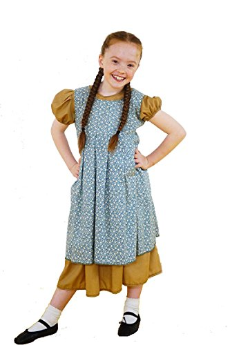 Orphan Costume For Annie Play (CL COSTUMES World Book Day-Annie-Orphan-Workhouse Victorian Camel Dress with Floral Over Pinny Child's Costume – All Ages (Age 11-13))