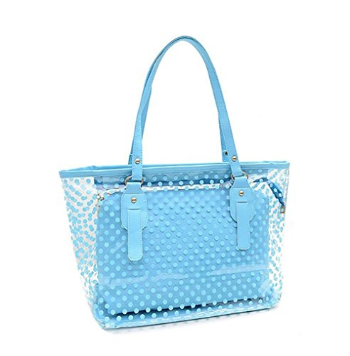 Top Shop Womens Casual Polka Dot Clear Tote Bag Transparent Beach Handbag Blue Shoulder Bag