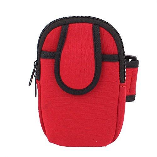 eDealMax Mobile Portable Mp3 Clés Double poches Porte-poignet du Bras Sac Rouge