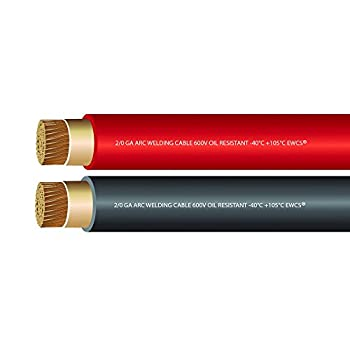 Image of EWCS 2/0 Gauge Premium Welding Cable Black + Red Combo Pack - 20 Feet of Each - Made in USA Cable
