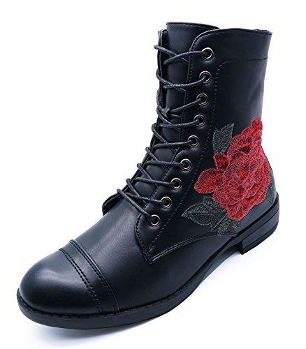 HeelzSoHigh Damen Flach Schwarz Zum Schnüren Rose Reißverschluss Militär Combat Biker Stiefeletten Schuhe Größen 3-8