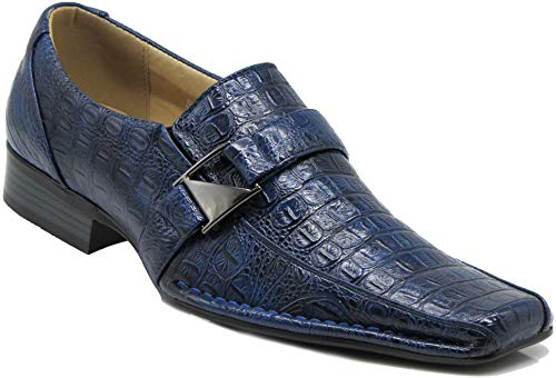 (Enzo Romeo Santcro Men's Dress Crocodile Print Loafers Elastic Slip on with Buckle Fashion Shoes Runs Half Size Big (9.5 D(M) US, Royal)