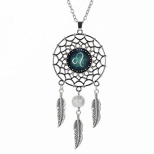 VOIMAKAS Dream Catcher Necklace, Retro Boho Zodiac Sign Pendant Dangling Feather Tassel Bead Charm Chain Constellation Jewelry for Women - - Charm Leo Pendant