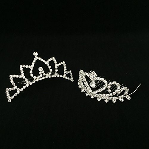 Butterfly Craze Girls Princess Tiara Crown with Comb for Costume Accessories 2 pcs]()