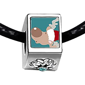 Chicforest Silver Plated wearing a Santa Hat Christmas Reindeer Photo Blue Aquamarine Crystal March Birthstone Flower Charm Beads Fits Pandora Charm