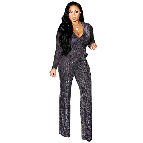 Belted Long Sleeve Belt - Kafiloe Womens Sexy Sparkly Long Sleeve Party Jumpsuit Elegant Bodycon Wide Leg Pants Rompers Clubwear with Belt