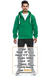 Mens Hipster Hip Hop Basic Heavy Weight Zip-Up KGREEN Hoodie Jacket Small