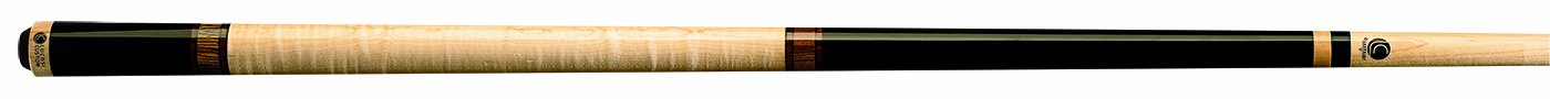 Lucasi Custom Mystic Black and Curly Maple Pool Cue with Cocobola and Snakewood Banded Rings