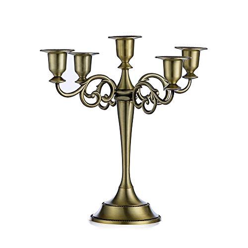 Sziqiqi Metal Candle Holder 5-arms Candle Stand 27cm Tall Wedding Event Candelabra Candle Stick (Bronze)