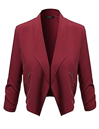 Amazon.com: Awesome21 Women's Lapel Long Sleeve Short Suit Blazer ...