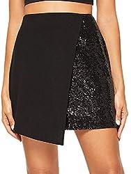 Asymmetrical Hem Sequin Solid Mini Skirt