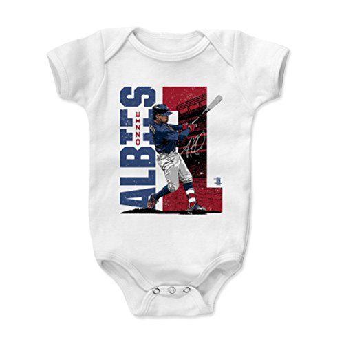 500 LEVEL Ozzie Albies Baby Clothes, Onesie, Creeper, Bodysuit 6-12 Months White - Atlanta Baseball Baby Clothes - Ozzie Albies Stadium R
