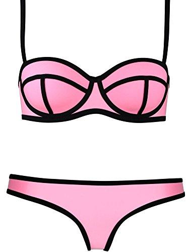 Blidece Luxury Push up Bright Diving Suit Neoprene Bikini Swimsuit Swimwear Set Pink Medium