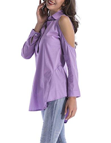 Legendaryman Couleur Bouton Casual Violet Unie Blouses Dnude avec Irrgulier Revers Tops Tunique Chemisiers Fashion Manches paule Femmes Long Printemps Shirts Haut Longues XwPrqvSX