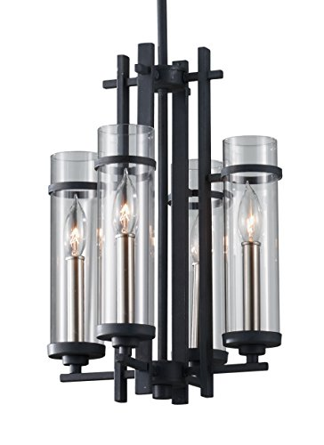 Feiss F2627/4AF/BS Ethan 4-Light Mini Chandelier, Antique Forged Iron/Brushed (Forged Iron 5 Light Chandelier)