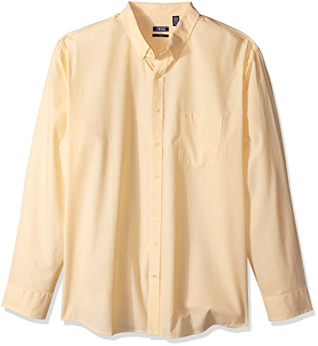IZOD Men's Essential Check Long Sleeve Shirt (Regular Fit), Golden Cream, X-Large Slim