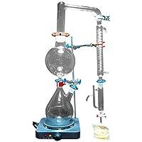 Appareil de distillation à la vapeur d'huiles essentielles de 2 000 ml - Kits en verre - Purificateur et distributeur d'eau avec condensateur Graham